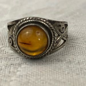 Amber & sterling silver ring